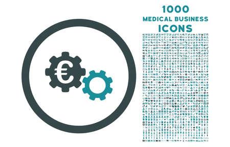 Mecánica de euros redondeados icono bicolor del vector con 1000 iconos de negocios médica. conjunto de estilos es pictogramas planas, los colores azules suaves, fondo blanco. Ilustración de vector