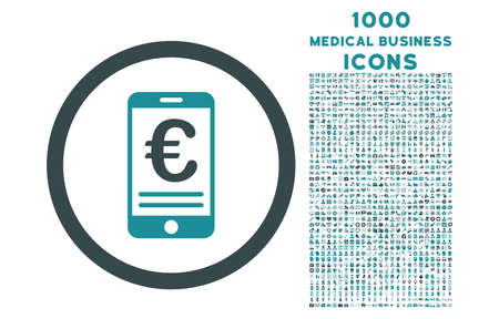 bank account: Euro Mobile Bank Account rounded vector bicolor icon with 1000 medical business icons. Set style is flat pictograms, soft blue colors, white background.