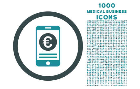 mobile banking: Euro Mobile Banking rounded vector bicolor icon with 1000 medical business icons. Set style is flat pictograms, soft blue colors, white background. Illustration