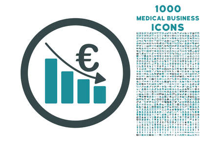 recession: Euro Recession rounded vector bicolor icon with 1000 medical business icons. Set style is flat pictograms, soft blue colors, white background. Illustration