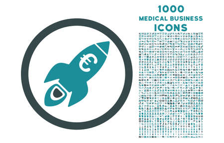 satellite launch: Euro Rocket Startup rounded vector bicolor icon with 1000 medical business icons. Set style is flat pictograms, soft blue colors, white background.