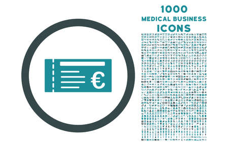 allowed to pass: Euro Ticket rounded vector bicolor icon with 1000 medical business icons. Set style is flat pictograms, soft blue colors, white background.
