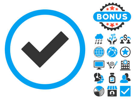 accept icon: Accept icon with bonus pictogram. Vector illustration style is flat iconic bicolor symbols, blue and gray colors, white background.
