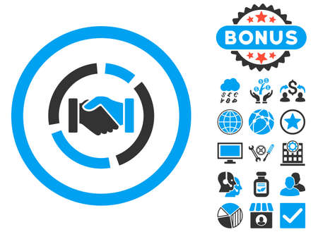 acquisition: Acquisition Diagram icon with bonus elements. Vector illustration style is flat iconic bicolor symbols, blue and gray colors, white background. Illustration