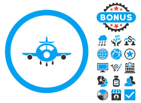 Aircraft icon with bonus elements. Vector illustration style is flat iconic bicolor symbols, blue and gray colors, white background. Illustration