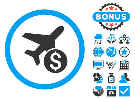 Airplane Price icon with bonus symbols. Vector illustration style is flat iconic bicolor symbols, blue and gray colors, white background.