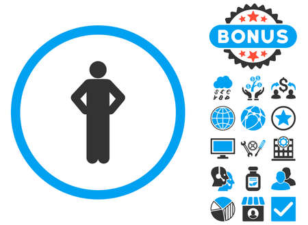 Akimbo icon with bonus design elements. Vector illustration style is flat iconic bicolor symbols, blue and gray colors, white background.