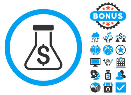 a solution tube: Alchemy icon with bonus design elements. Vector illustration style is flat iconic bicolor symbols, blue and gray colors, white background.