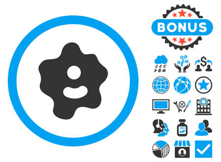 Ameba icon with bonus symbols. Vector illustration style is flat iconic bicolor symbols, blue and gray colors, white background.