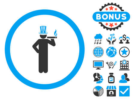 American Capitalist icon with bonus images. Vector illustration style is flat iconic bicolor symbols, blue and gray colors, white background. Illustration