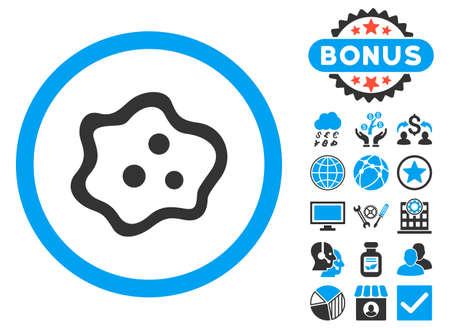 ameba: icono de la ameba con símbolos de bonificación. ilustración vectorial estilo es llano bicolor símbolos icónicos, colores azul y gris, fondo blanco.