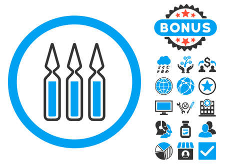 Ampoules icon with bonus pictogram. Vector illustration style is flat iconic bicolor symbols, blue and gray colors, white background.