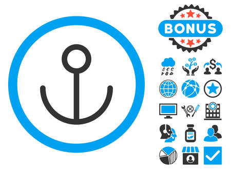 Anchor icon with bonus images. Vector illustration style is flat iconic bicolor symbols, blue and gray colors, white background. Illustration