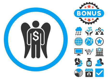investor: Angel Investor icon with bonus pictures. Vector illustration style is flat iconic bicolor symbols, blue and gray colors, white background. Illustration