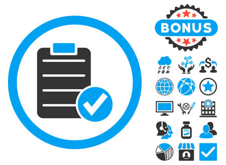 Apply Form icon with bonus pictures. Vector illustration style is flat iconic bicolor symbols, blue and gray colors, white background. Illustration