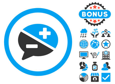Arguments icon with bonus images. Vector illustration style is flat iconic bicolor symbols, blue and gray colors, white background.