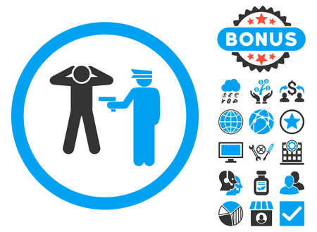 arrest: Arrest icon with bonus pictures. Vector illustration style is flat iconic bicolor symbols, blue and gray colors, white background.