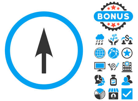 ordinate: Arrow Axis Y icon with bonus design elements. Vector illustration style is flat iconic bicolor symbols, blue and gray colors, white background. Illustration