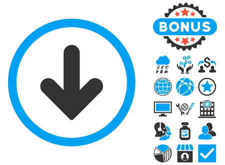 Arrow Down icon with bonus elements. Vector illustration style is flat iconic bicolor symbols, blue and gray colors, white background.