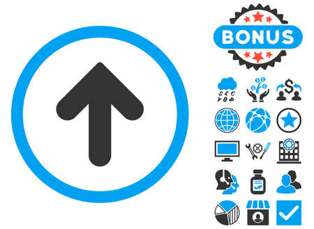 move ahead: Arrow Up icon with bonus symbols. Vector illustration style is flat iconic bicolor symbols, blue and gray colors, white background. Illustration