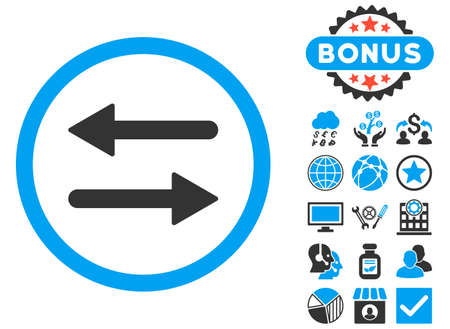 Arrows Exchange icon with bonus symbols. Vector illustration style is flat iconic bicolor symbols, blue and gray colors, white background.