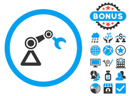 automat: Artificial Manipulator icon with bonus design elements. Vector illustration style is flat iconic bicolor symbols, blue and gray colors, white background.