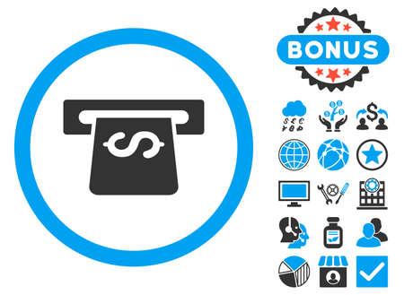 automatic transaction machine: icono atm con elementos de bonificación. ilustración vectorial estilo es llano bicolor símbolos icónicos, colores azul y gris, fondo blanco. Vectores