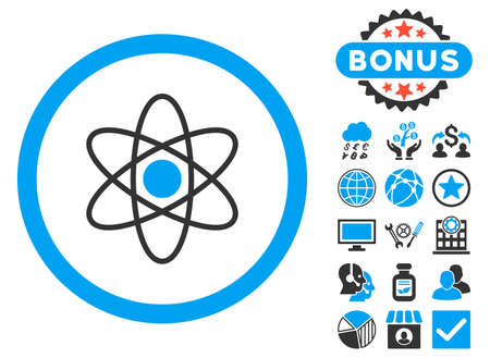Atom icon with bonus design elements. Vector illustration style is flat iconic bicolor symbols, blue and gray colors, white background. Illustration