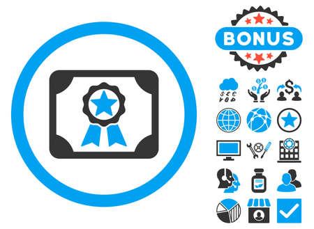 Award Diploma Symbol mit Bonus-Design-Elementen. Vektorillustrationsstil ist flache ikonenhafte zweifarbige Symbole, blaue und graue Farben, weißer Hintergrund. Vektorgrafik
