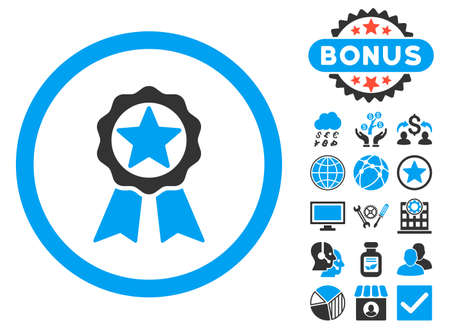 Award icon with bonus pictures. Vector illustration style is flat iconic bicolor symbols, blue and gray colors, white background.