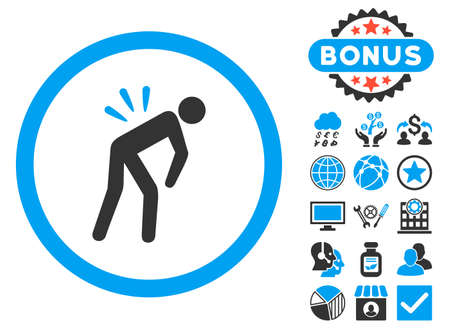 backache: Backache icon with bonus pictures. Vector illustration style is flat iconic bicolor symbols, blue and gray colors, white background.