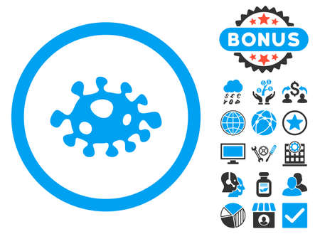 ameba: Bacteria icon with bonus symbols. Vector illustration style is flat iconic bicolor symbols, blue and gray colors, white background. Illustration