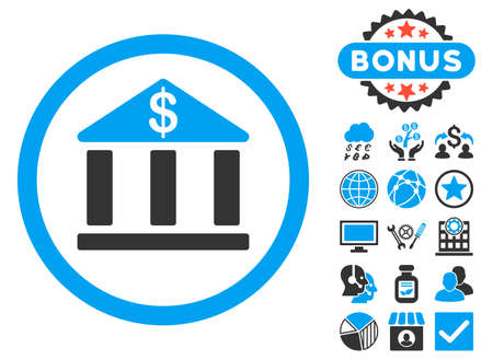 Bank Building icon with bonus pictures. Vector illustration style is flat iconic bicolor symbols, blue and gray colors, white background.
