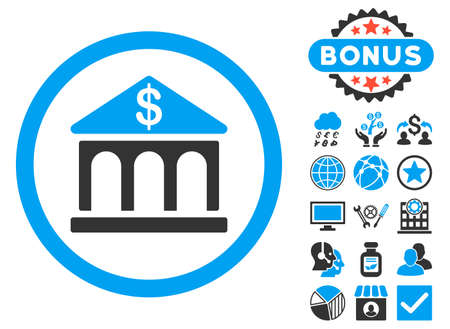 corporative: Bank Building icon with bonus images. Vector illustration style is flat iconic bicolor symbols, blue and gray colors, white background. Illustration