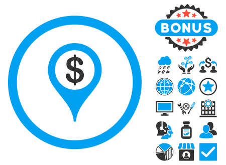 financial position: Bank Location icon with bonus pictogram. Vector illustration style is flat iconic bicolor symbols, blue and gray colors, white background. Illustration