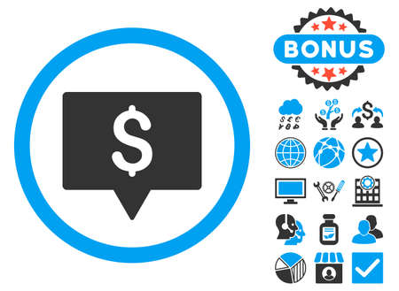 Bank Map Pointer icon with bonus elements. Vector illustration style is flat iconic bicolor symbols, blue and gray colors, white background.