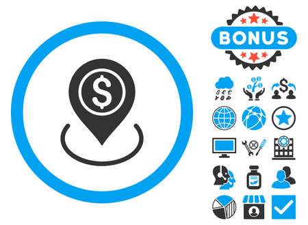 financial position: Bank Place icon with bonus symbols. Vector illustration style is flat iconic bicolor symbols, blue and gray colors, white background. Illustration