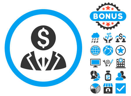 Banker icon with bonus elements. Vector illustration style is flat iconic bicolor symbols, blue and gray colors, white background.