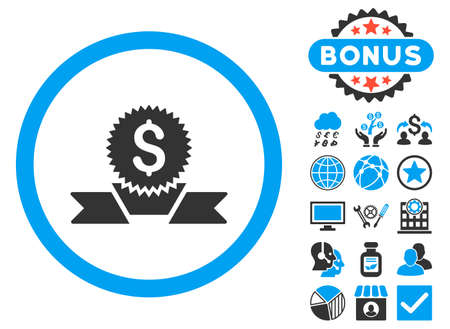 Banking Award icon with bonus pictogram. Vector illustration style is flat iconic bicolor symbols, blue and gray colors, white background. Illustration