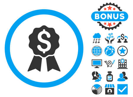 approval rate: Banking Award icon with bonus symbols. Vector illustration style is flat iconic bicolor symbols, blue and gray colors, white background.