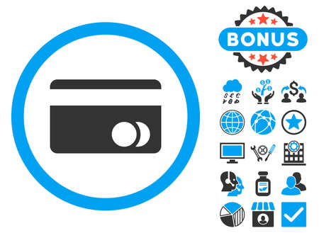 creditcard: Banking Card icon with bonus elements. Vector illustration style is flat iconic bicolor symbols, blue and gray colors, white background.