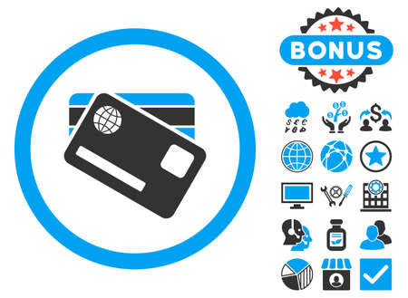 Banking Cards icon with bonus elements. Vector illustration style is flat iconic bicolor symbols, blue and gray colors, white background.