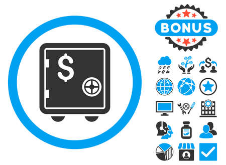 strong box: Banking Safe icon with bonus pictures. Vector illustration style is flat iconic bicolor symbols, blue and gray colors, white background.