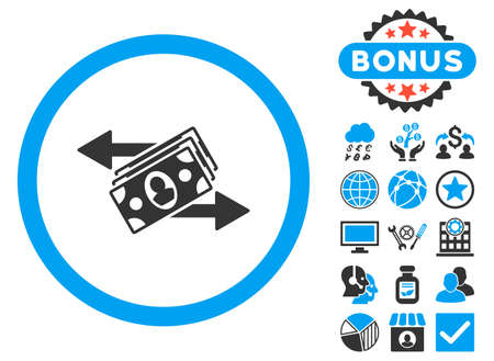 banknotes: Banknotes Payments icon with bonus symbols. Vector illustration style is flat iconic bicolor symbols, blue and gray colors, white background.
