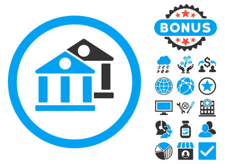 Banks icon with bonus design elements. Vector illustration style is flat iconic bicolor symbols, blue and gray colors, white background. Illustration