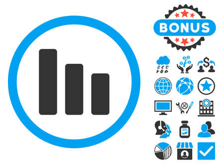descending: Bar Chart Decrease icon with bonus symbols. Vector illustration style is flat iconic bicolor symbols, blue and gray colors, white background. Illustration