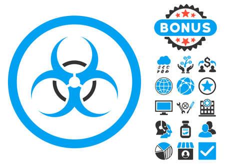 bio hazard: Bio Hazard icon with bonus elements. Vector illustration style is flat iconic bicolor symbols, blue and gray colors, white background.