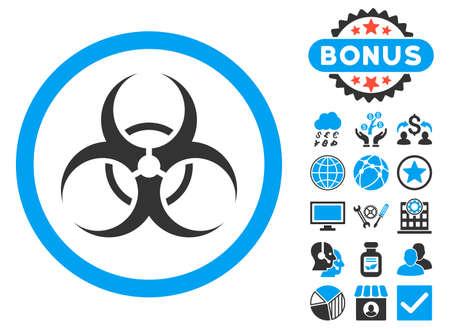 riesgo biologico: icono del símbolo del Biohazard con símbolos de bonificación. ilustración vectorial estilo es llano bicolor símbolos icónicos, colores azul y gris, fondo blanco.