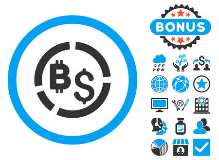 Bitcoin Financial Diagram icon with bonus images. Vector illustration style is flat iconic bicolor symbols, blue and gray colors, white background.