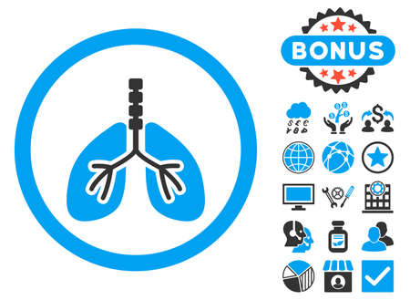 pulmones: Breathe System icon with bonus pictogram. Vector illustration style is flat iconic bicolor symbols, blue and gray colors, white background.